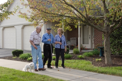 Seniors Walking at their Active Adult Community in Lititz, PA