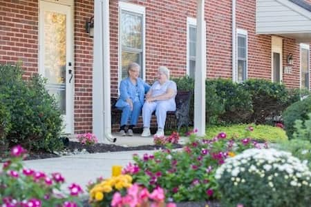 Seniors Talking at their Apartment in Lititz, PA at United Zion Retirement Community