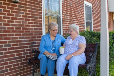 Seniors Talking Outside their Senior Apartments in Lititz, PA