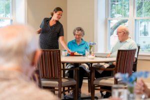 Residents enjoy a meal in Lexington Restaurant.